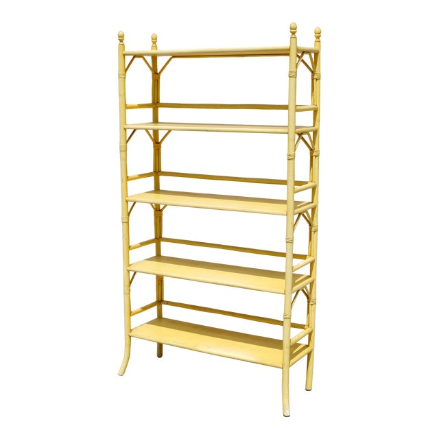 Vintage Yellow Rattan Etagere - Heavy For Sale