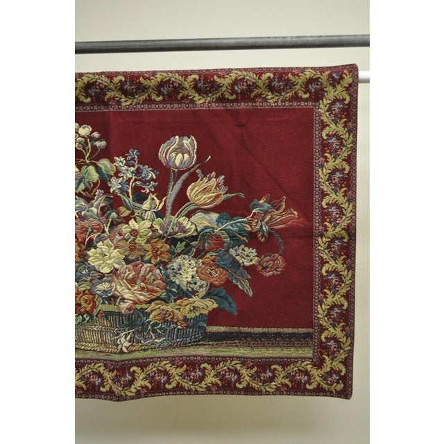 """French 51"""" X 36"""" French Wall Hanging Tapestry Jacquard Acanthus Floral Still Life Red For Sale - Image 3 of 8"""