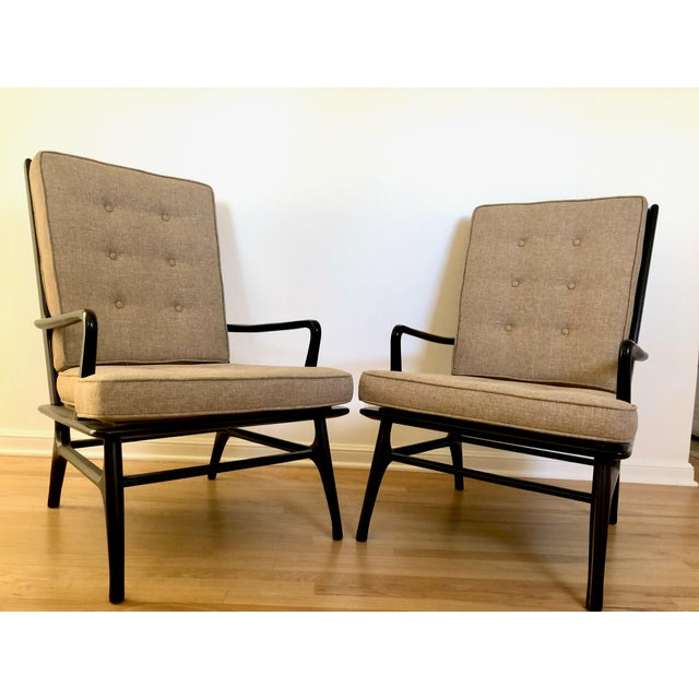 Beige Mid Century Ebonized Chairs - a Pair For Sale - Image 8 of 8