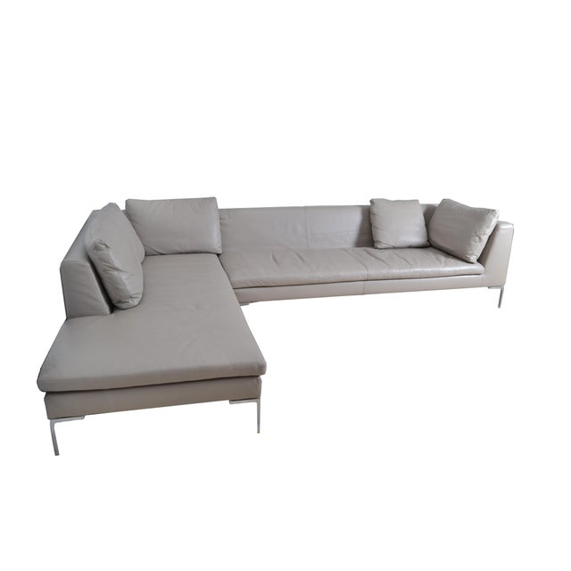 Original B&B Italia leather sectional sofa from the Maxalto collection. Model: Lucrezia, grey. This sofa consists of two...