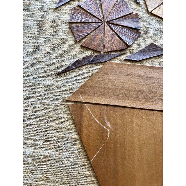 Boho Chic 1969 Vintage Wooden Botanical Folk Art Wall Hanging For Sale - Image 3 of 7