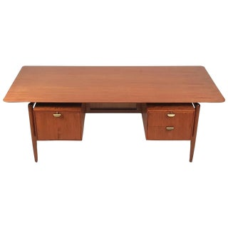 Finn Juhl Teak Executive Desk with Floating Top For Sale