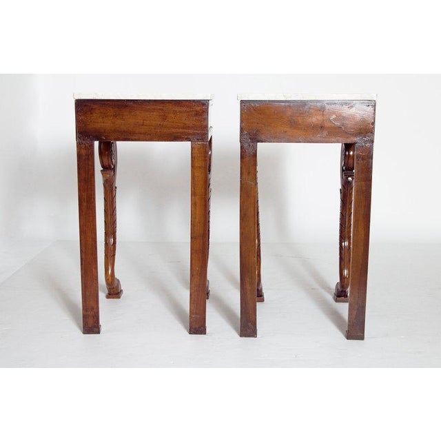 A Pair of Charles X Style Mahogany Tables With White Marble Tops For Sale - Image 11 of 13