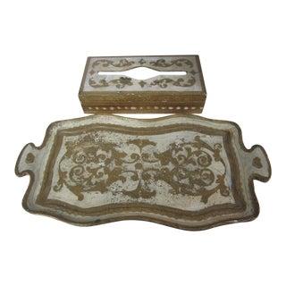 Florentine Tissue Box Holder & Tray For Sale