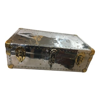 Beautiful Old English Polished Aluminum Trunk For Sale