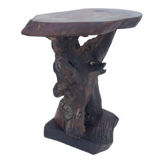 Rustic Tree Slab Pedestal Table For Sale