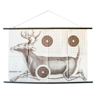 1970s Vintage Paper Shooting Target of Deer