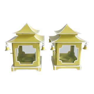 Pair of Citron Green Tole Pagoda Lanterns With White Trim