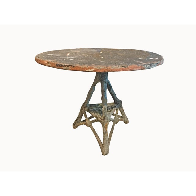 Gray French Vintage Cast Stone Faux Bois Table C.1960 For Sale - Image 8 of 8