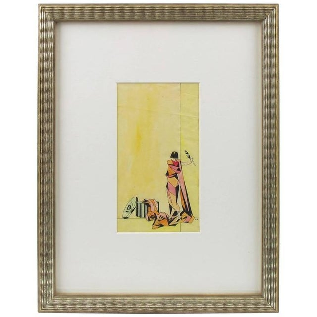 Wood Art Deco Signed Colored Pencil on Tracing Paper Cubist Illustration Drawing For Sale - Image 7 of 7