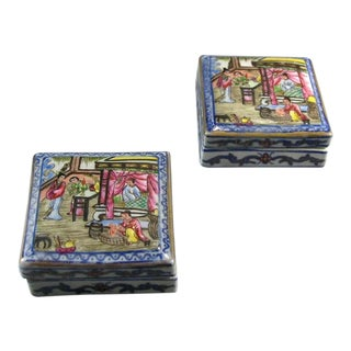 19th Century Daoguang Mark & Period Small Porcelain Ink Boxes - A Pair For Sale