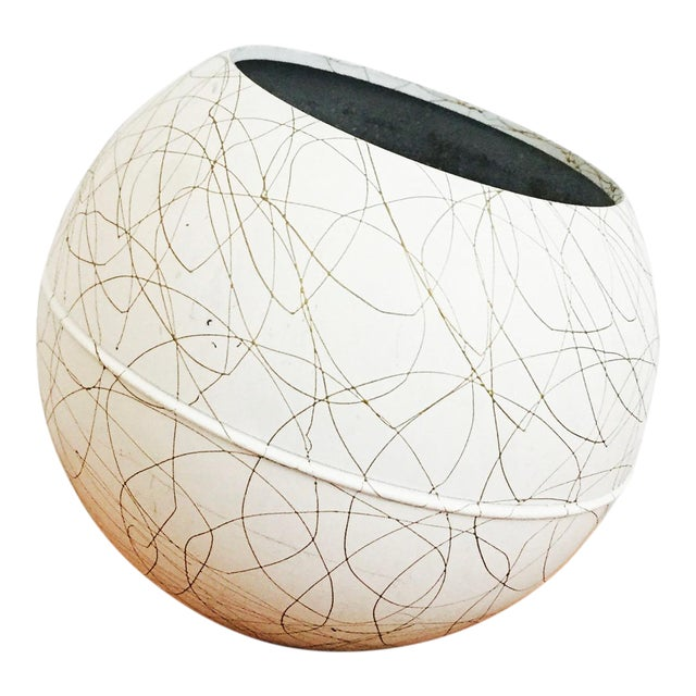 Mid Century Gold Squiggle Orb Lamp - Image 1 of 7