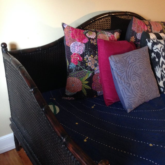 Wicker Faux Bamboo Crate and Barrel Day Bed - Image 7 of 7