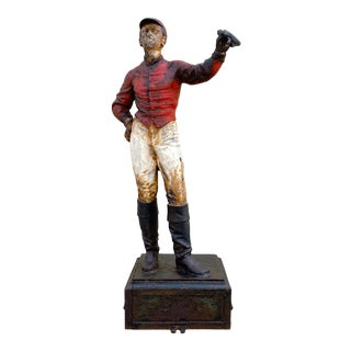 Antique Cast Iron Lawn Jockey on Pedestal For Sale