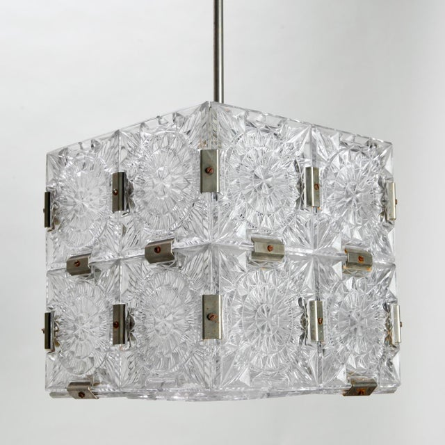 Glass Mid Century Glass Cube Pendant Light in the Style of Kalmar For Sale - Image 7 of 7
