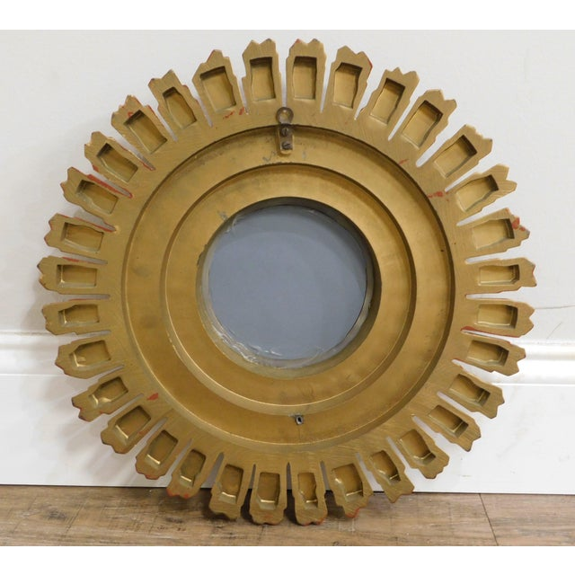 1980s Small Gold Gilt Sunburst Mirror For Sale - Image 5 of 13