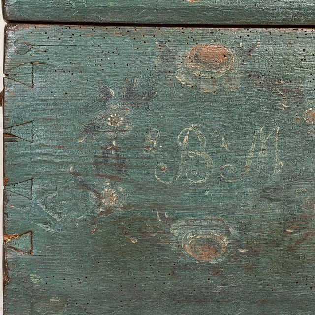 Antique Original Blue Painted Small Trunk Dated 1788 From Sweden For Sale - Image 6 of 13