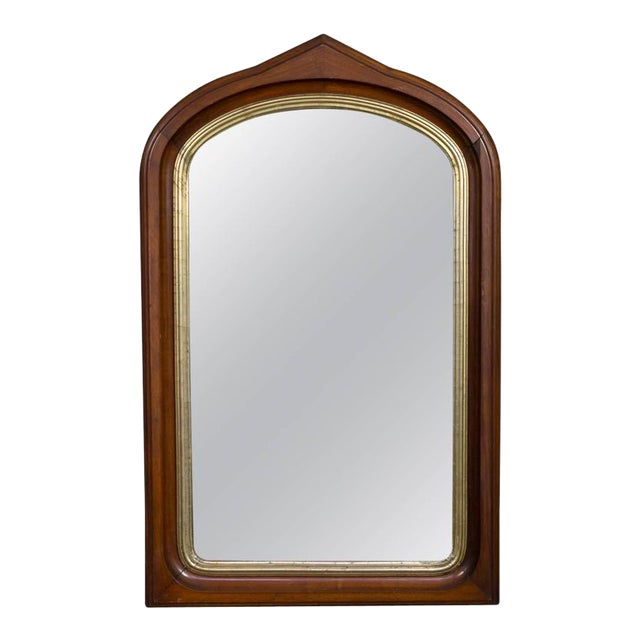 High-End Mahogany Arched Frame Mirror With Gilt Border | DECASO