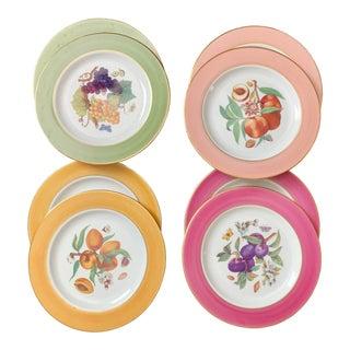 Fruit Design Colorful Limoges Salad / Dessert Plates - Set of 8 For Sale
