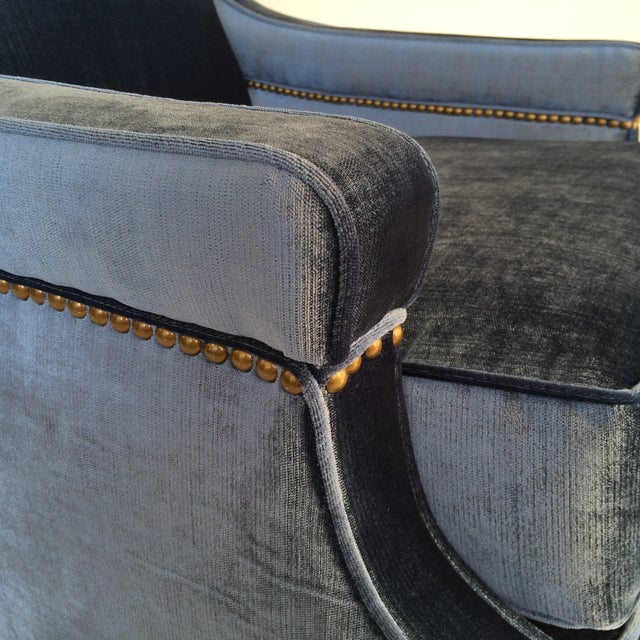 Mid-Century Blue Velvet Club Chairs - A Pair - Image 3 of 10