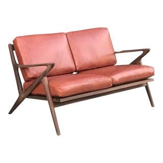Custom Z Loveseat in Terracotta Leather For Sale
