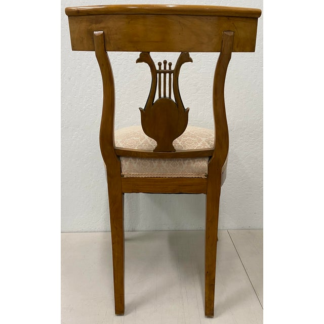 Late 19th Century Pair of 19th Century Biedermeier Lyre Back Dining Chairs For Sale - Image 5 of 13
