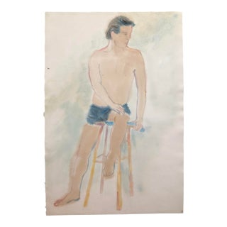Seated Female Nude Watercolor 1980s For Sale