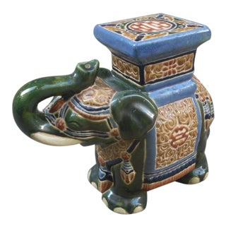 1960s Ceramic Elephant Plant Stand For Sale