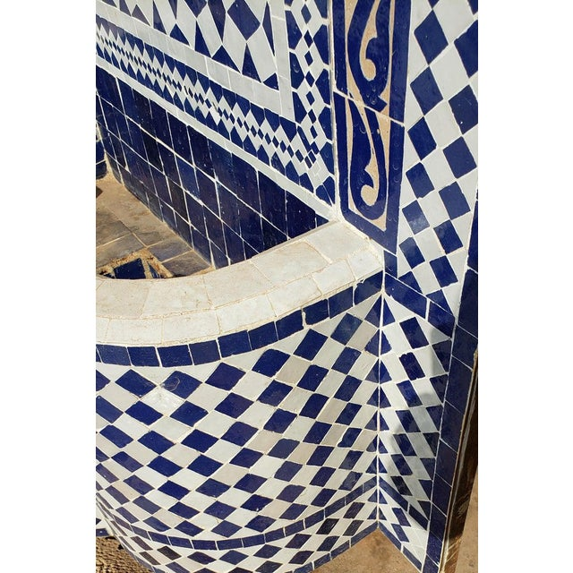 Moroccan Mosaic Blue Fountain For Sale - Image 4 of 8