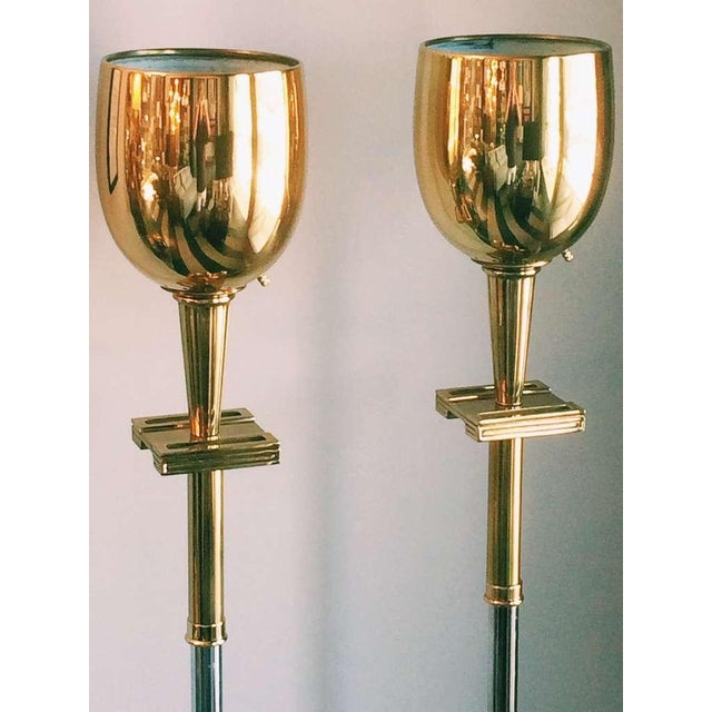 Tommy Parzinger Brass Torchieres - A Pair - Image 3 of 6