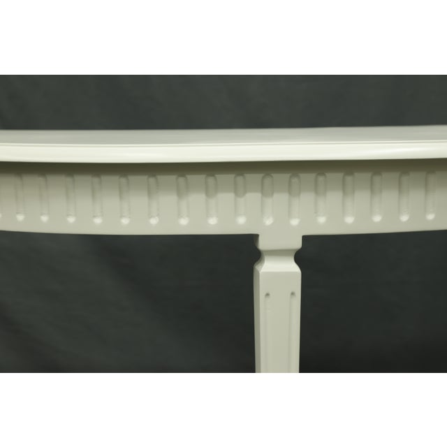 English Traditional Matte White Finish3 Legged Semi-Circle Console Table With Tapered Legs For Sale - Image 3 of 6
