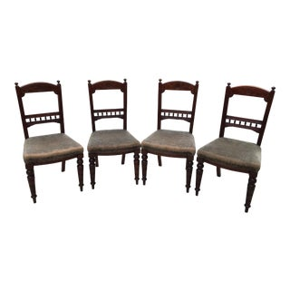 20th Century Art Deco Carved Flower Detailed Wooden Dining Chairs - Set of 4