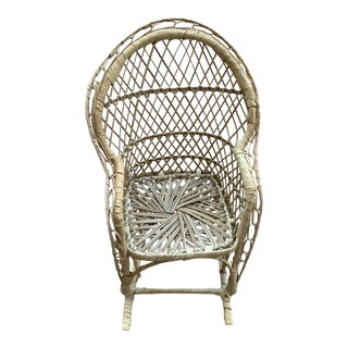 Vintage Wicker Miniature Rocking Chair Plant Stand For Sale