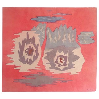 """Paul Klee Rare Vintage 1969 Abstract Modernist Lithograph Print """" the Place of Twins """" 1929 For Sale"""
