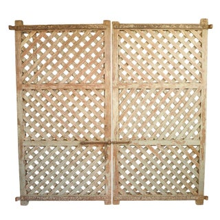 Vintage Lattice Wood Door Gate For Sale