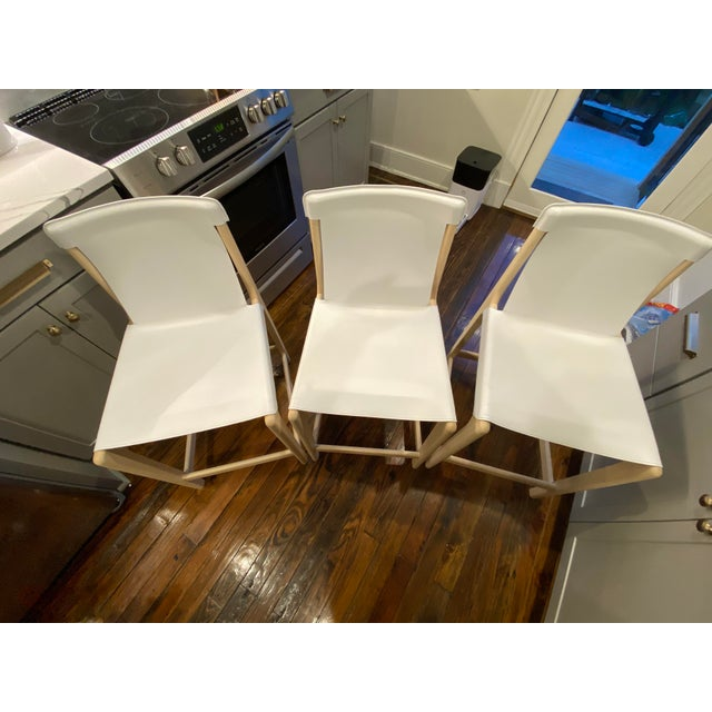 White Burano White Leather Sling Counter Stools- Set 3 For Sale - Image 8 of 10