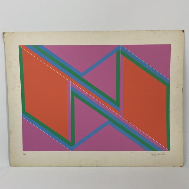 """1970s David Leverett Signed and Numbered """"Untitled"""" Serigraph Unframed For Sale - Image 10 of 13"""