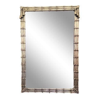 Vintage Mirror With Faux Bamboo Design Frame For Sale