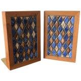 Image of Gordon Martz Ceramic Diamond Pattern Ceramic Bookends - a Pair For Sale