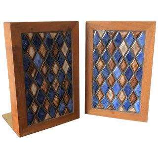 Gordon Martz Ceramic Diamond Pattern Ceramic Bookends - a Pair For Sale