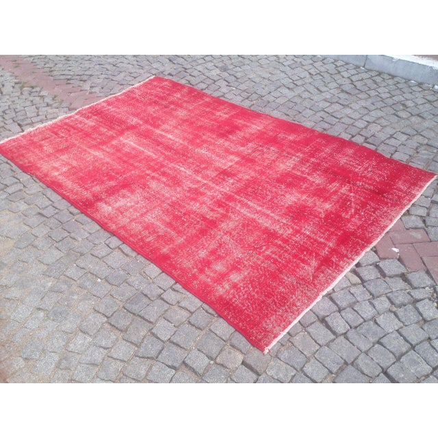"Turkish Pink Overdyed Handknotted Rug -- 5'10"" x 9'10"" For Sale - Image 6 of 6"