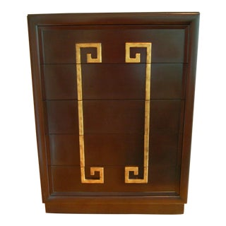 Kittinger Mid Century Modern Chest With Greek Key Handles, Mandarin Collection For Sale