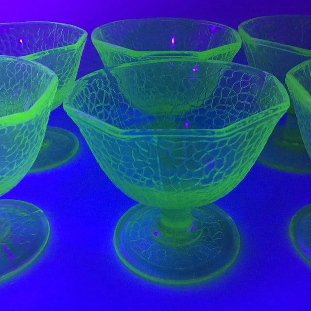 Cracked Uranium Lime Green Glass Dishes - Set of 6 For Sale - Image 9 of 11
