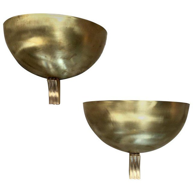 1960s Italian Half Moon in Brass Wall Lights - a Pair For Sale - Image 9 of 9