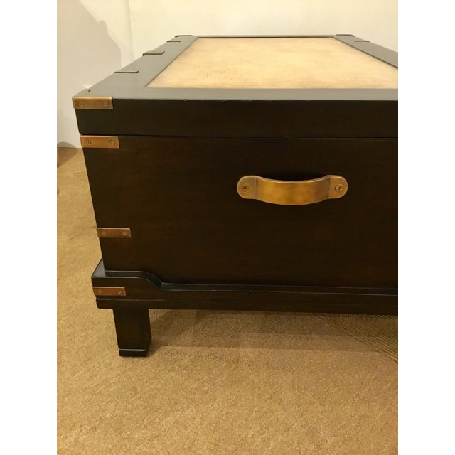 Currey & Co. Transitional Dark Wood Coffee Table Trunk Prototype For Sale In Atlanta - Image 6 of 7