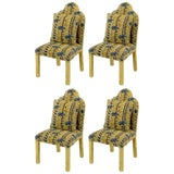 Image of Four Art Deco Revival Fully Upholstered Dining Chairs For Sale