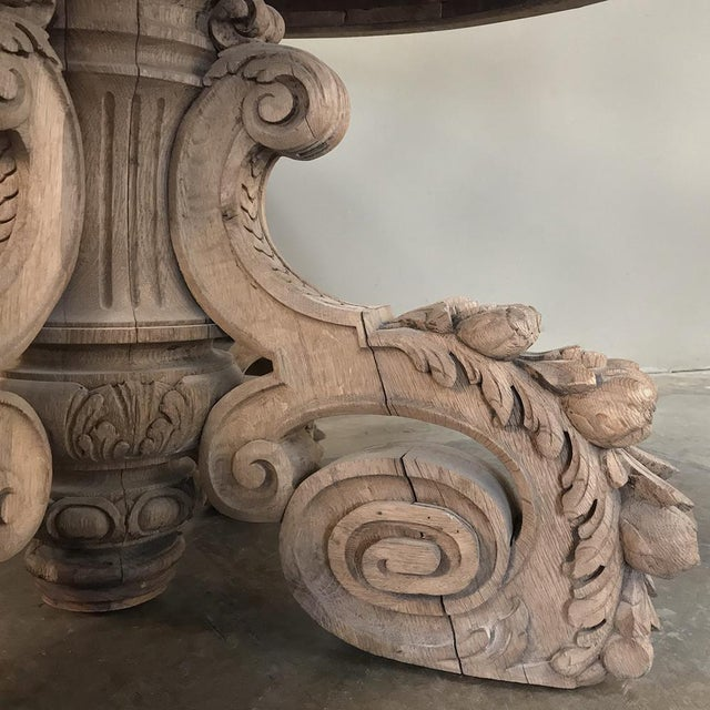Gray 19th Century French Renaissance Stripped Center Table For Sale - Image 8 of 13