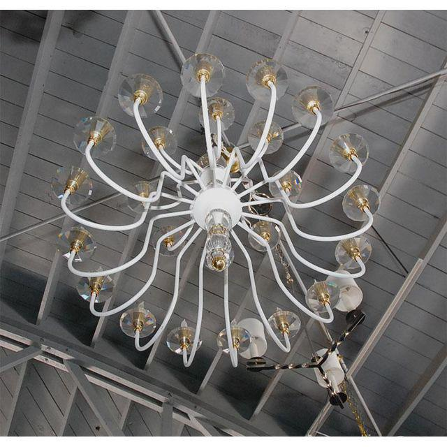 Hollywood Regency White Painted and Brass Chandelier For Sale - Image 3 of 8
