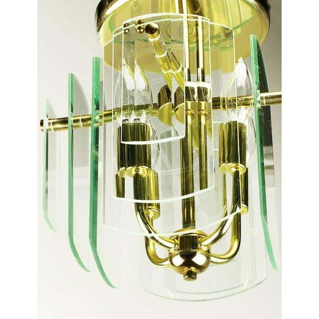 Pair Brass and Beveled Graduated Glass Ceiling Lights - Image 4 of 5