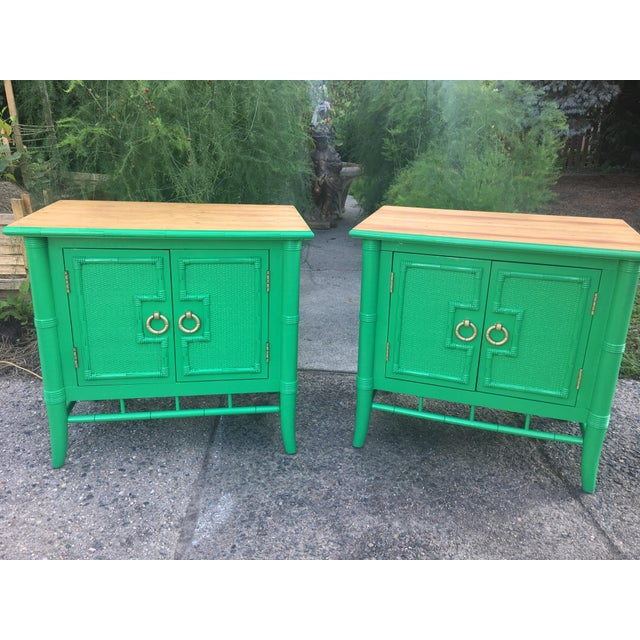 Vintage Thomasville Faux Bamboo Green Nightstands - A Pair - Image 9 of 10